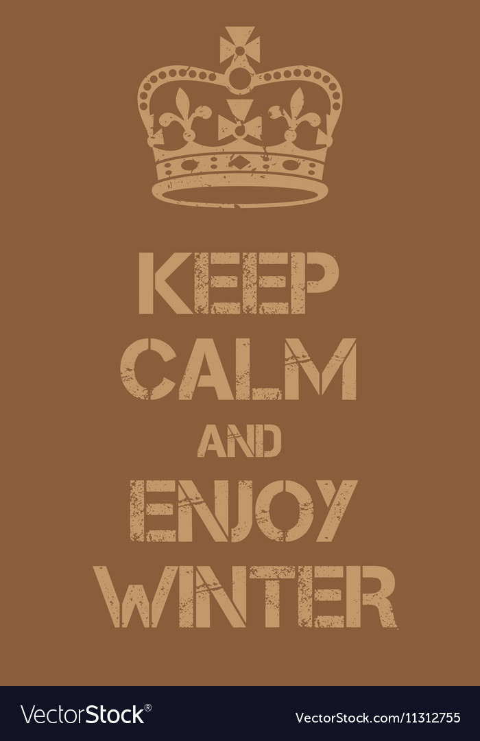 Keep Calm and enjoy winter poster vector image
