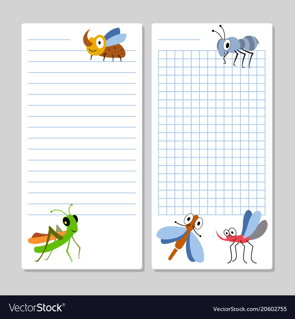 lined notebook pages template with cartoon insects