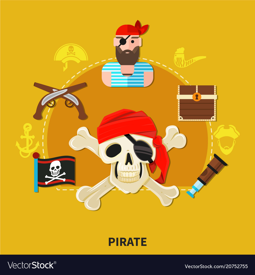Pirate cartoon composition vector image