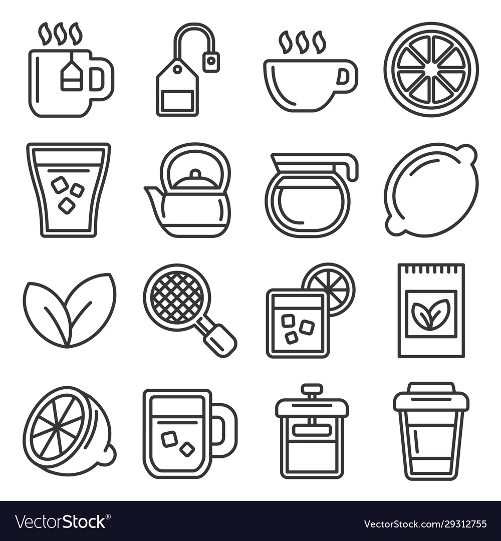 Tea icons set on white background line style vector
