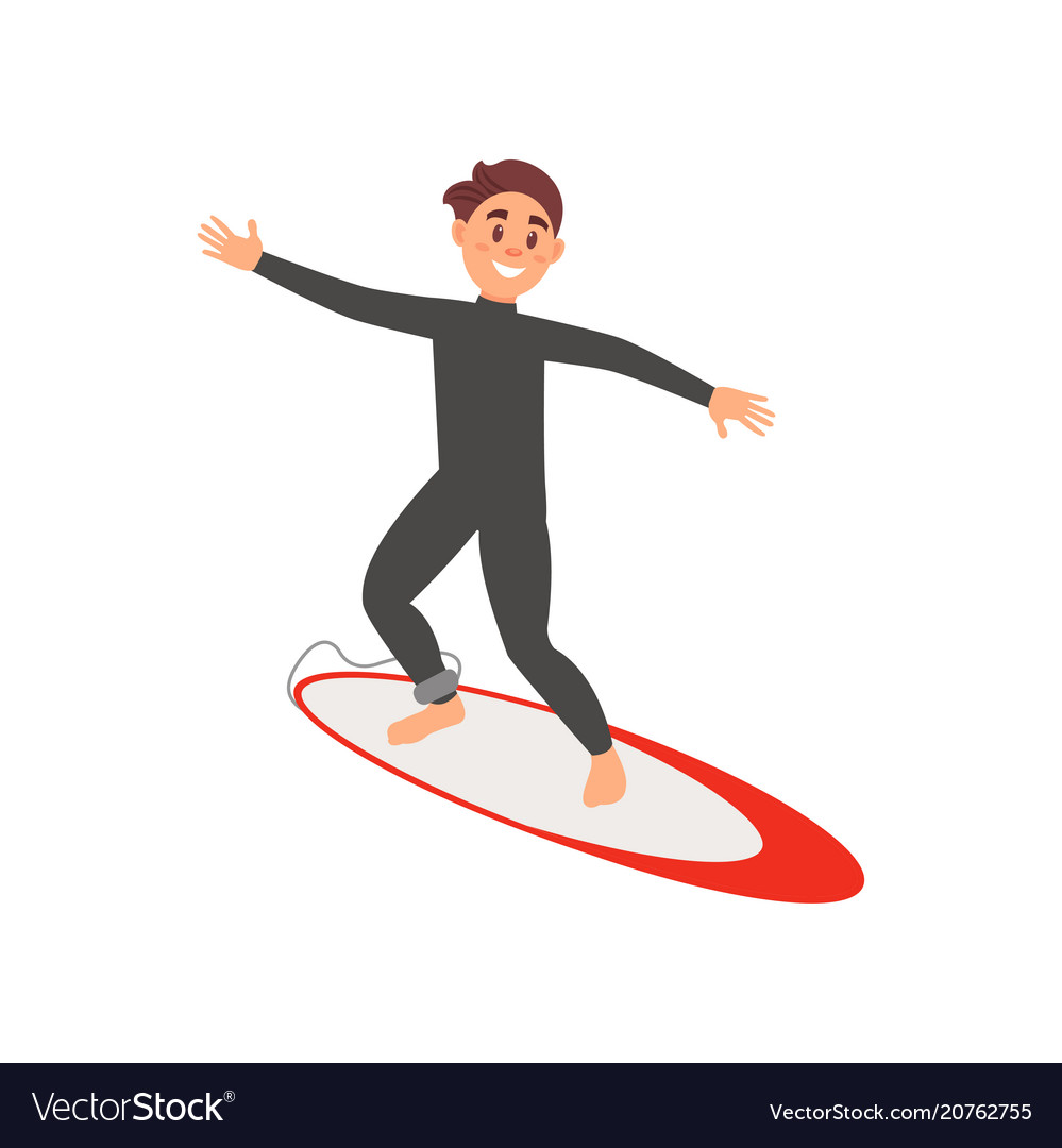 Young male athlete engaged in surfing guy on