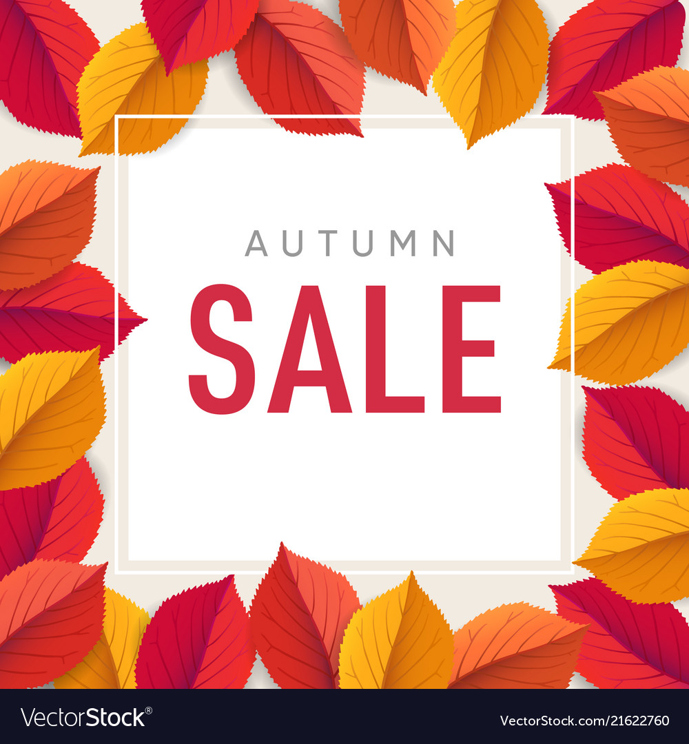 Autumn sale flyer template bright colorful fall