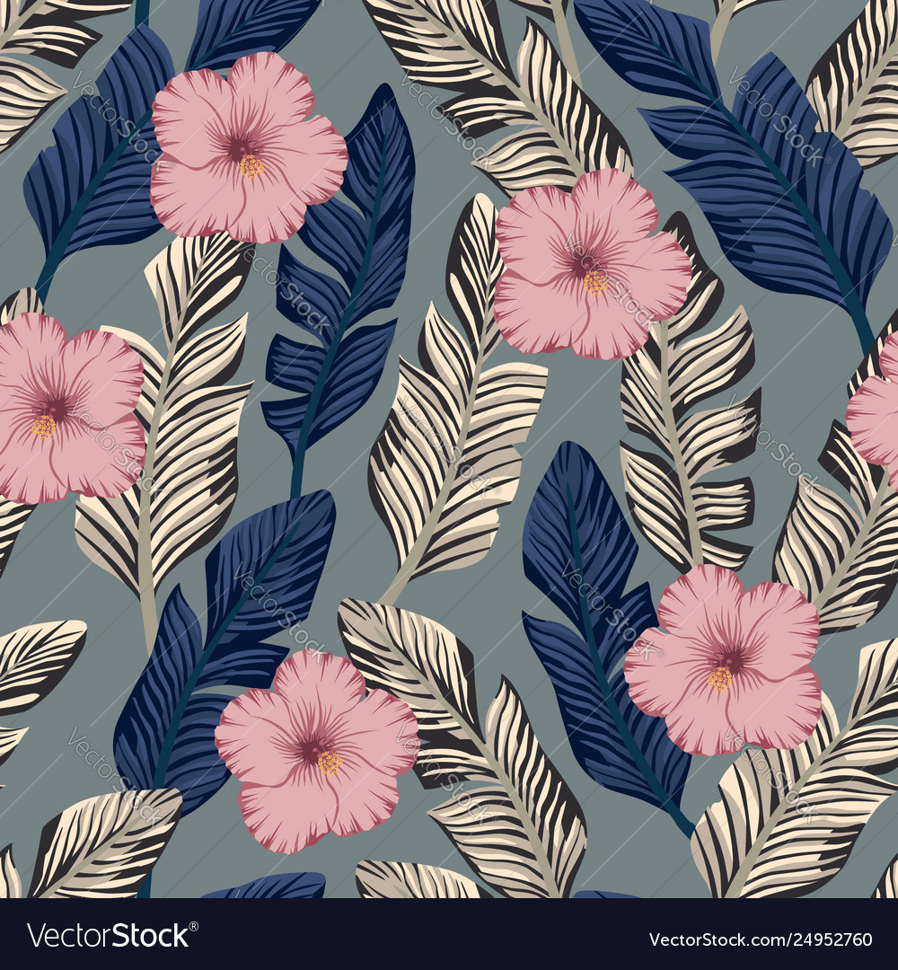 Brown and blue banana leaves hibiscus seamless