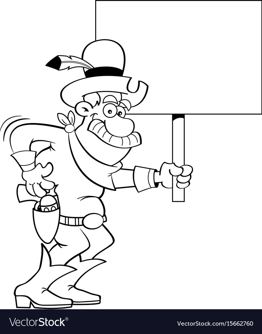 Cartoon cowboy holding a sign