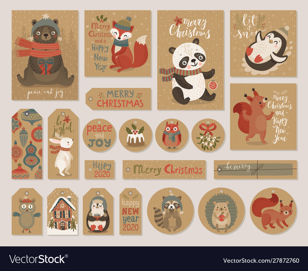Christmas kraft paper cards and gift tags set