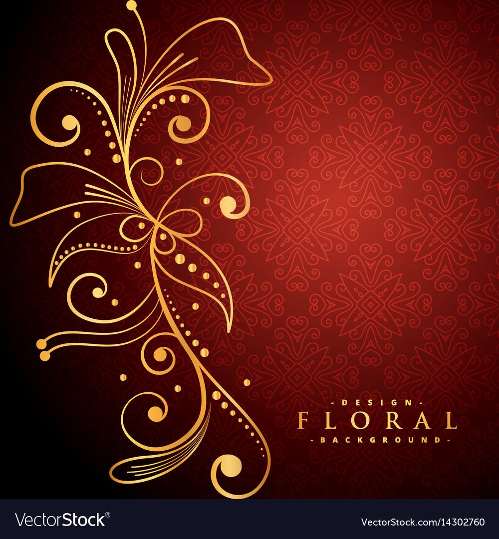 Golden floral on red background vector image