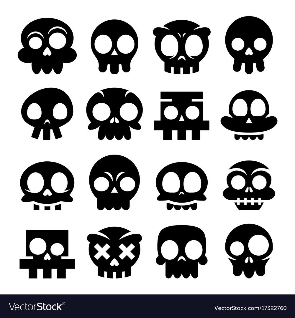Halloween cartoon skull icons mexican cute