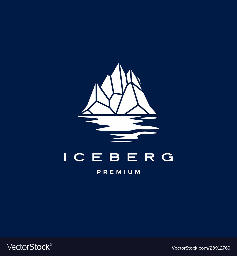 Iceberg logo geometric on dark blue background