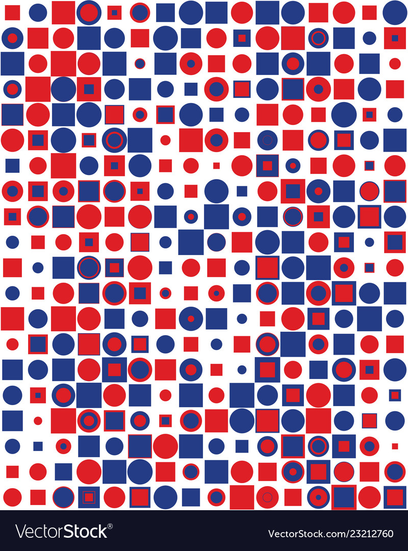Pattern with colorful squares and round