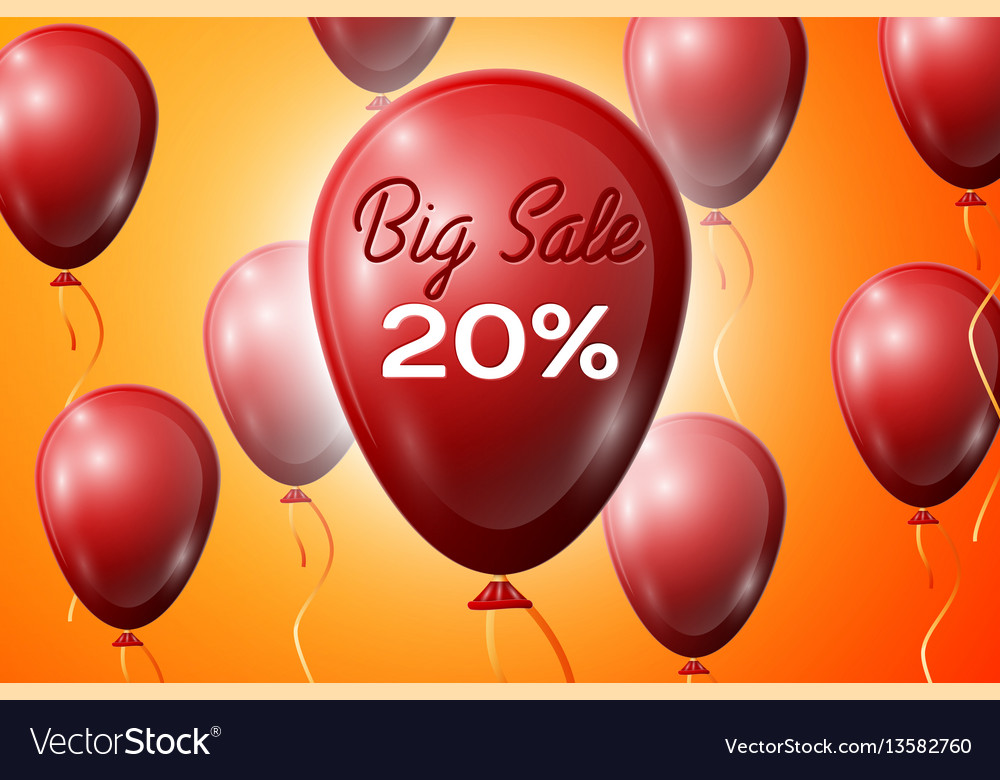 Red balloons with an inscription big sale twenty