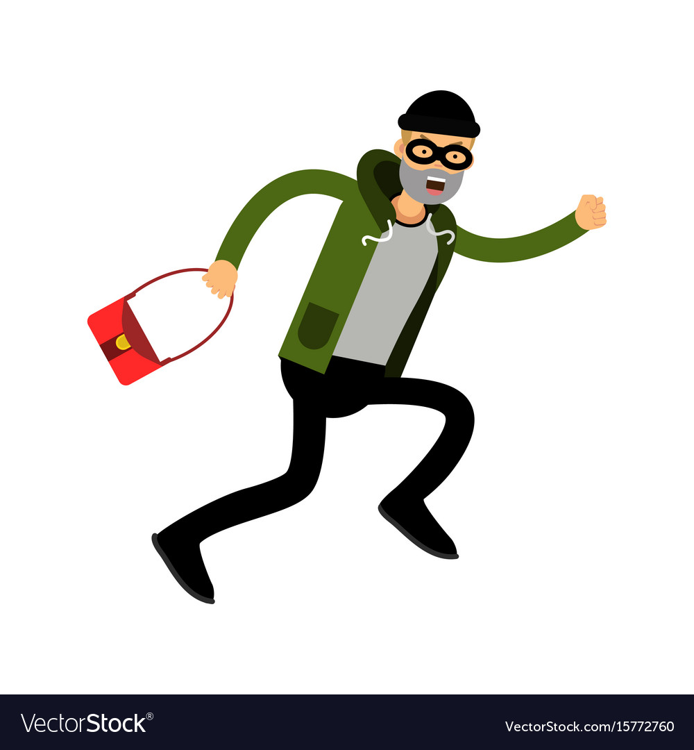 Robber character running with red female bag