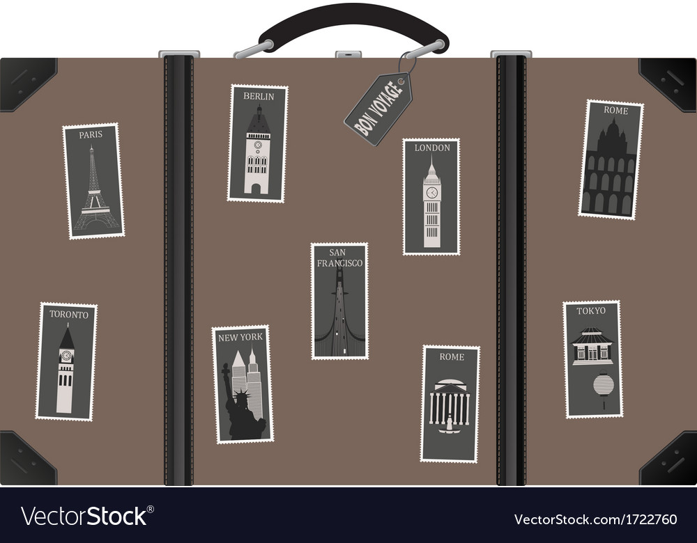 Travel sutecase with stamps