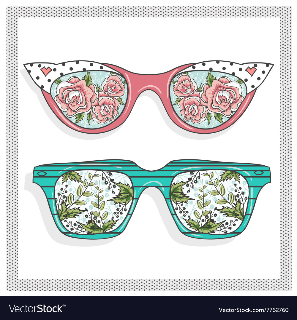 Vintage sunglasses with floral print
