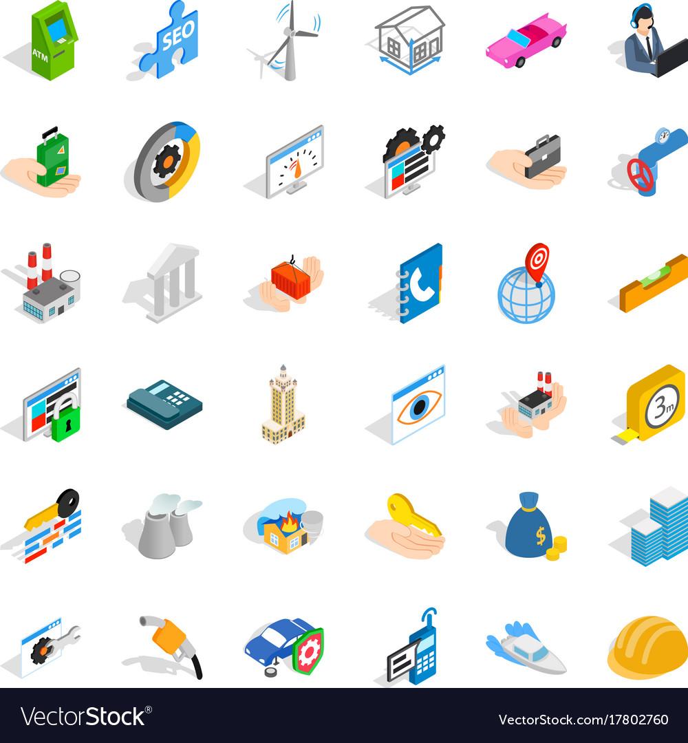 Worry icons set isometric style