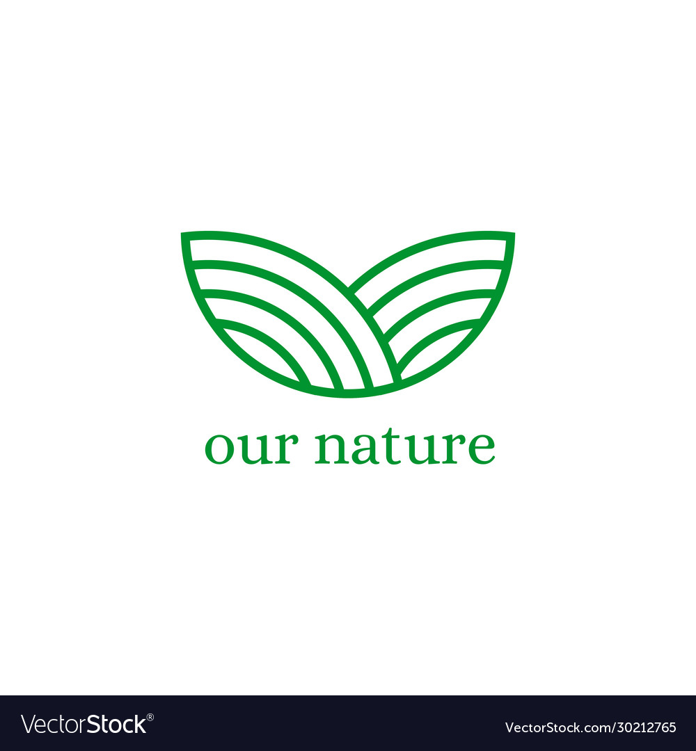 Abstract green hill logo design template