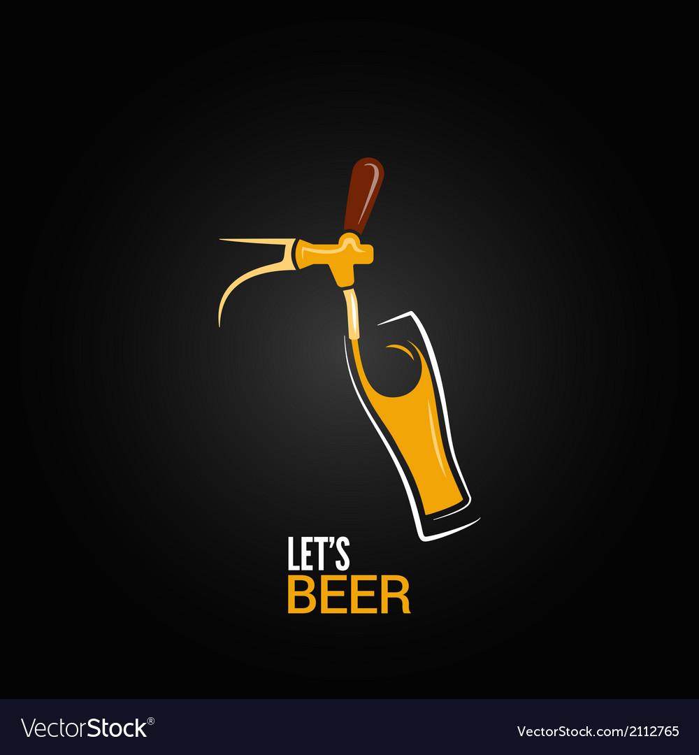 Beer tap glass design background vector image
