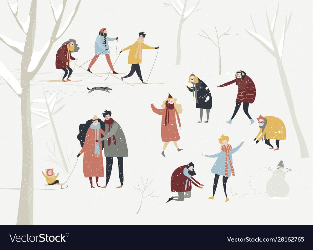 Cartoon happy people enjoying in winter