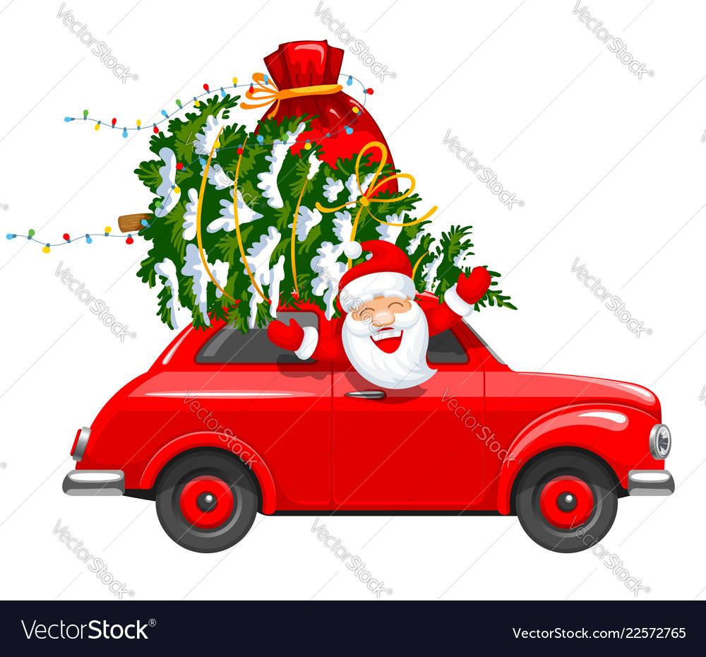 Christmas character santa in the car