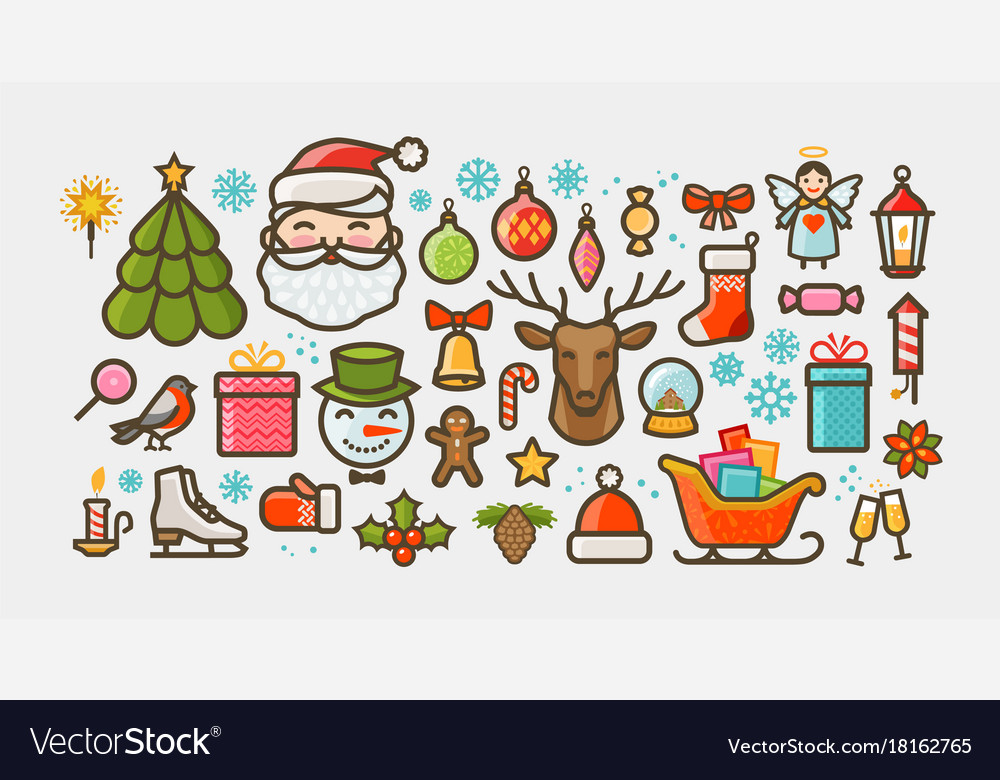 Christmas set of icons or symbols xmas concept