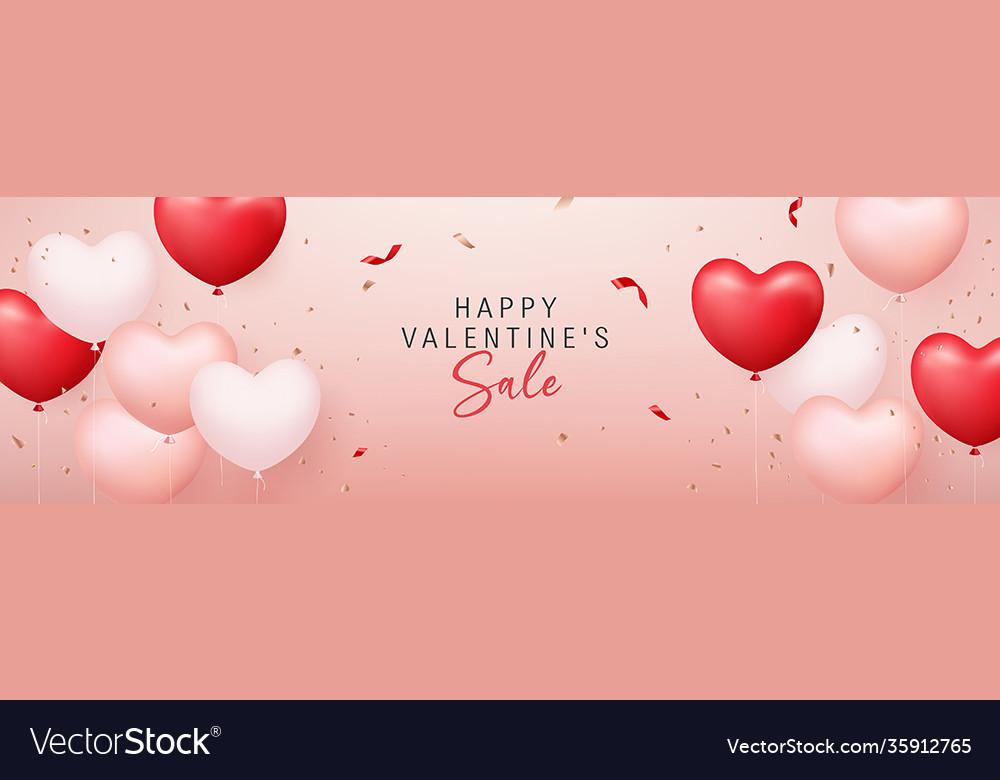 Happy valentine sale red pink white balloon heart