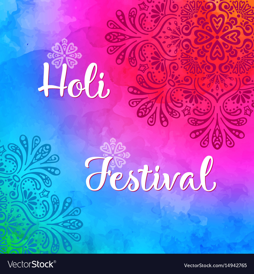 Holi holiday design with colorful watercolor