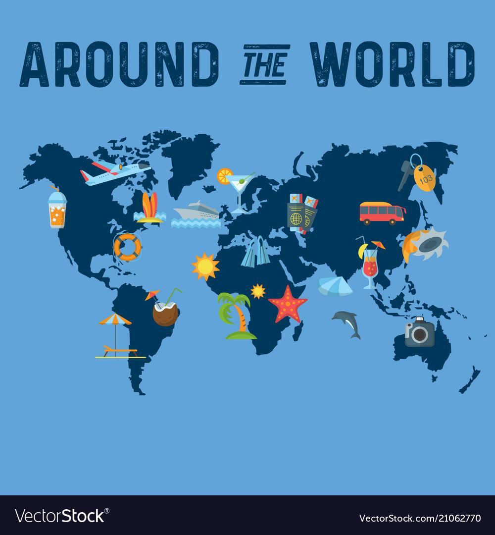 Around the world flat poster