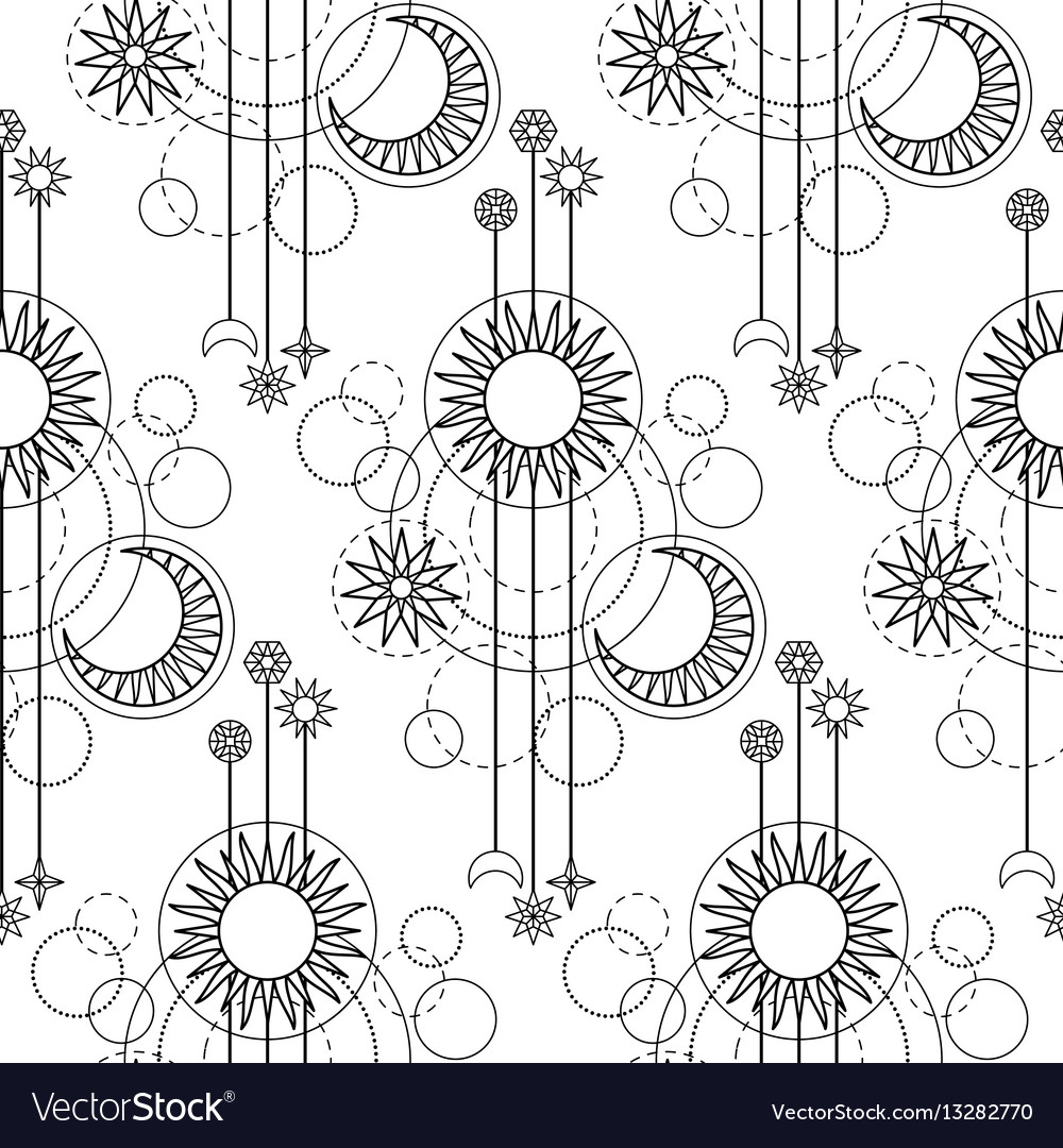 Astrology modern seamless pattern vector image