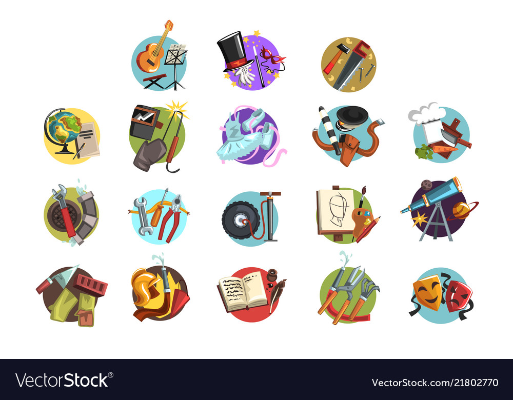 Colorful icons with symbols of different