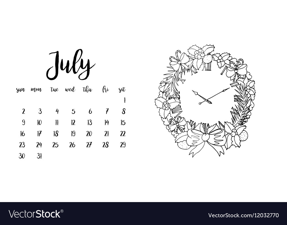 Desk Calendar Template For Month July Royalty Free Vector