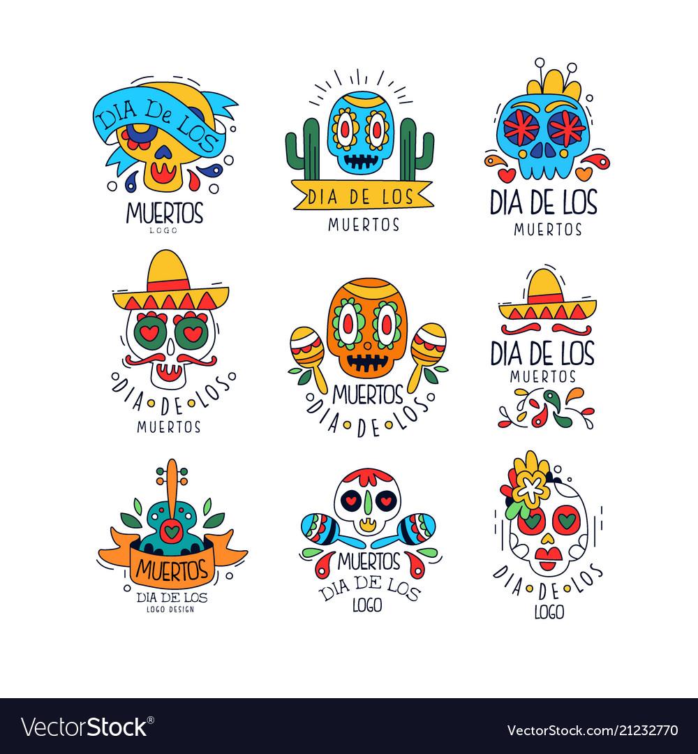 Dia de los muertos logo design set mexican day of