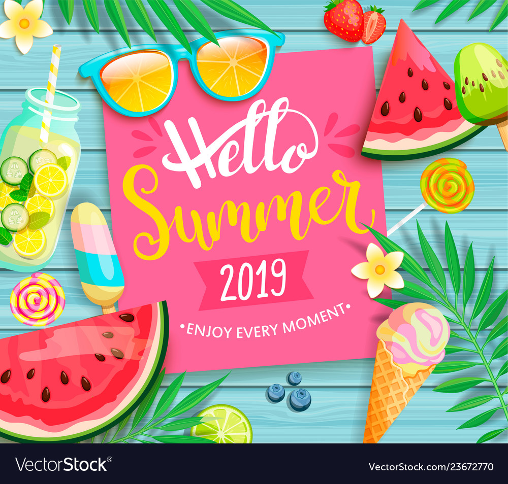 Hello summer 2019 pink card or banner