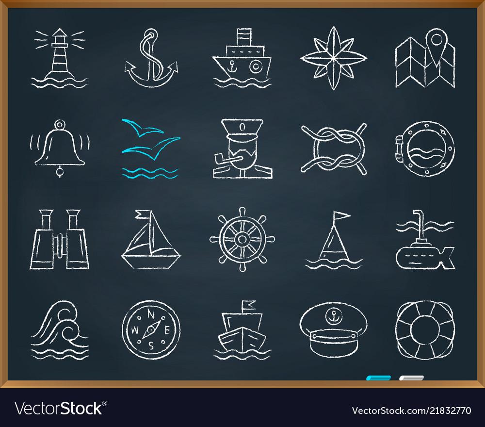 Marine chalk draw line icons set