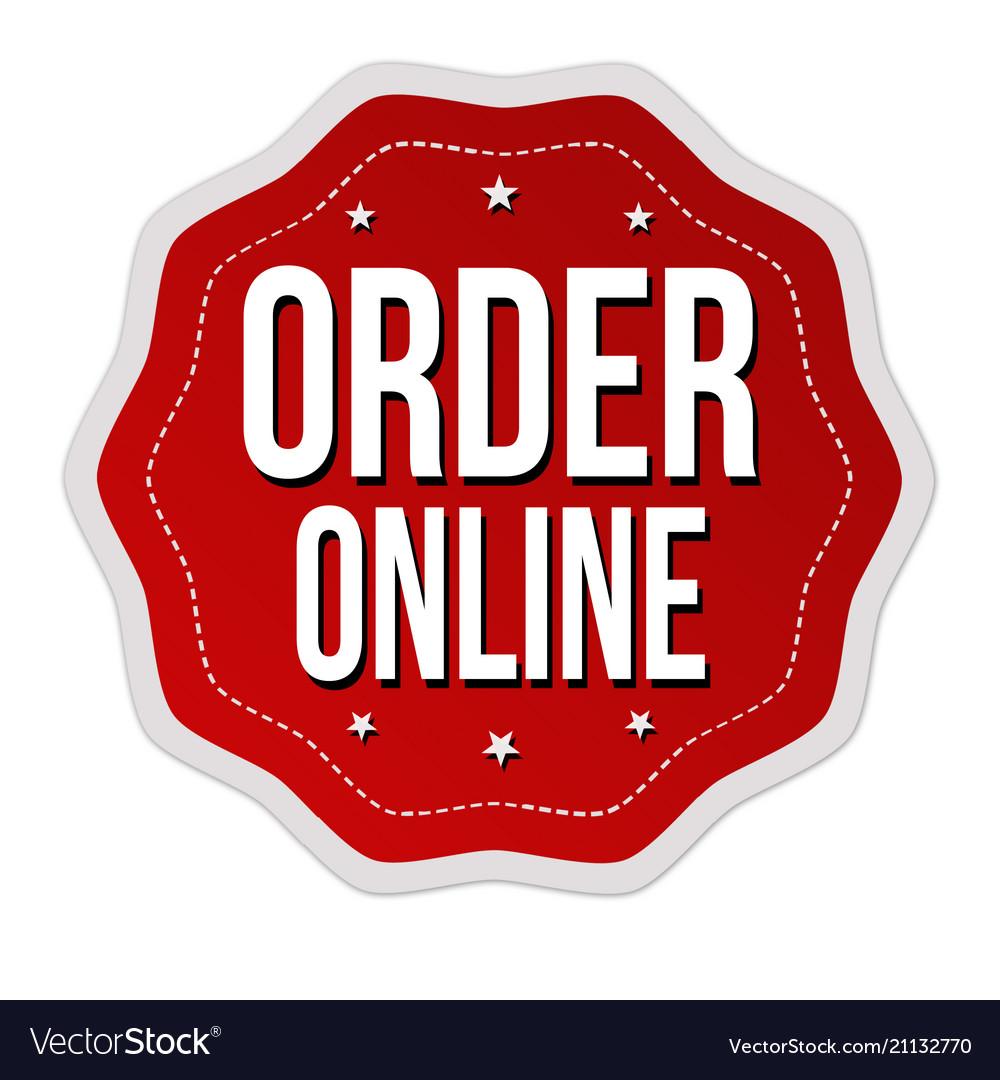 Order online label or sticker vector image