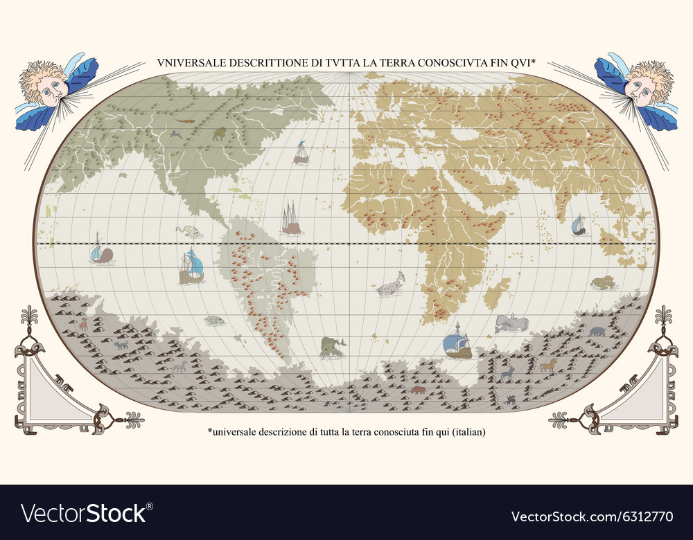Retro old globe with monsters and ships