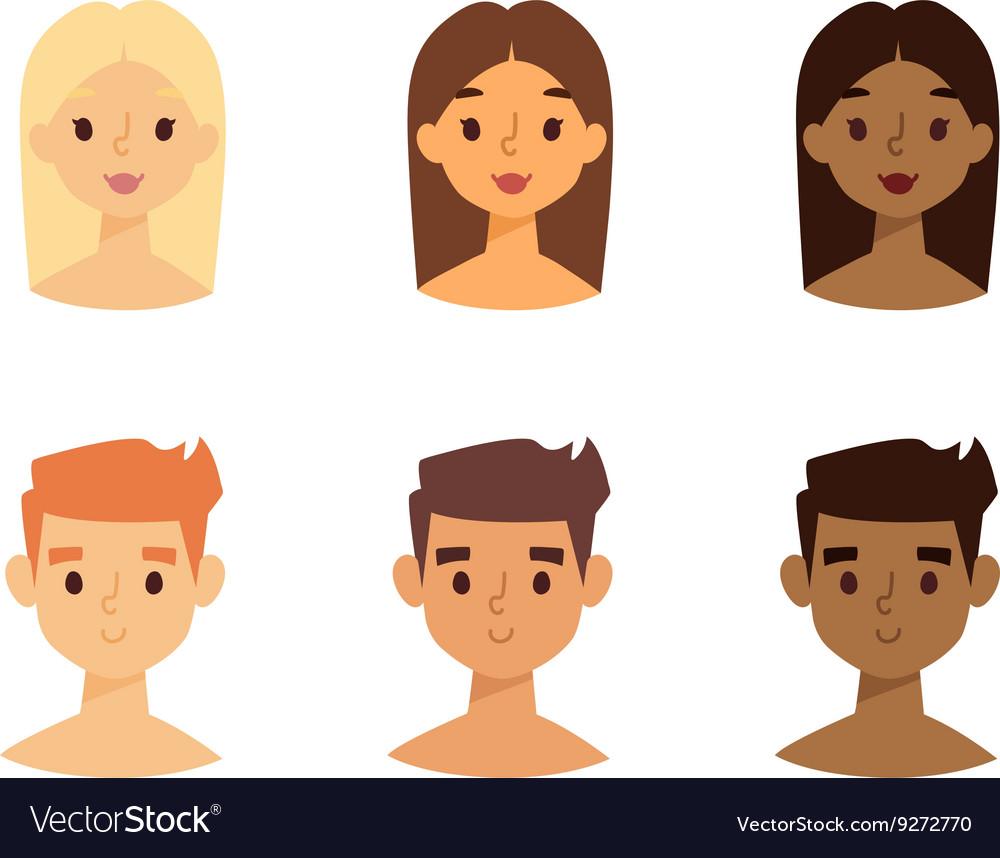 Skine tone faces set