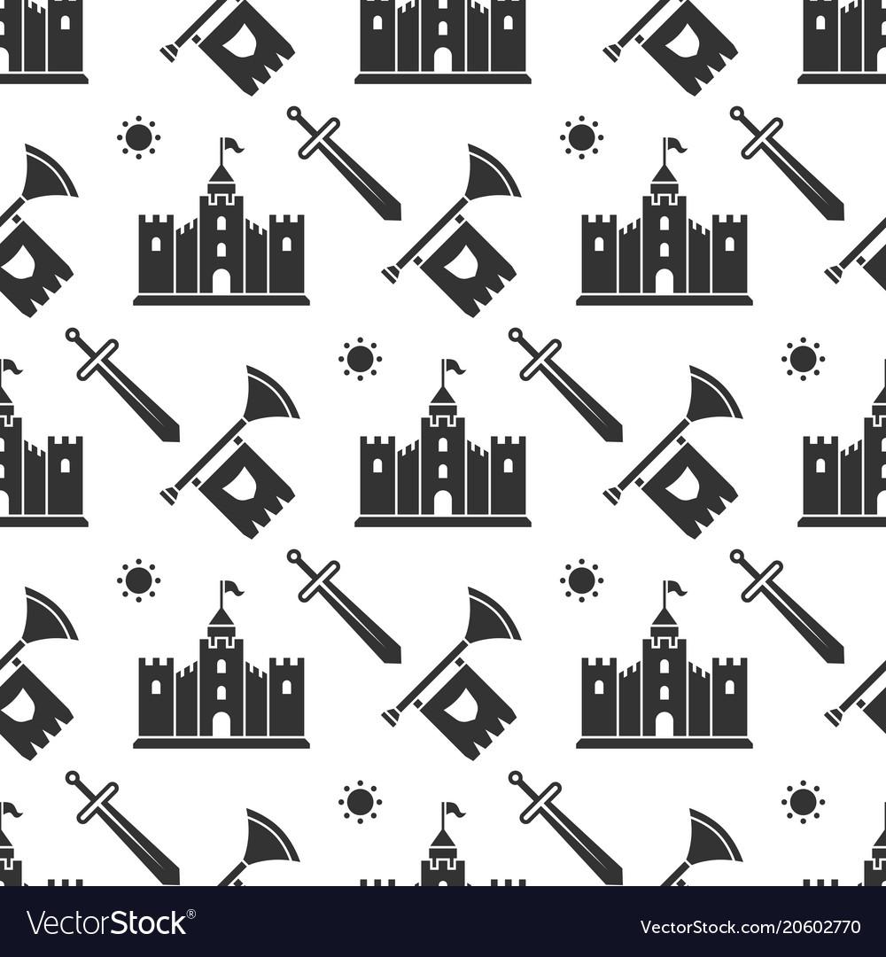 Swords medieval castle seamless pattern design