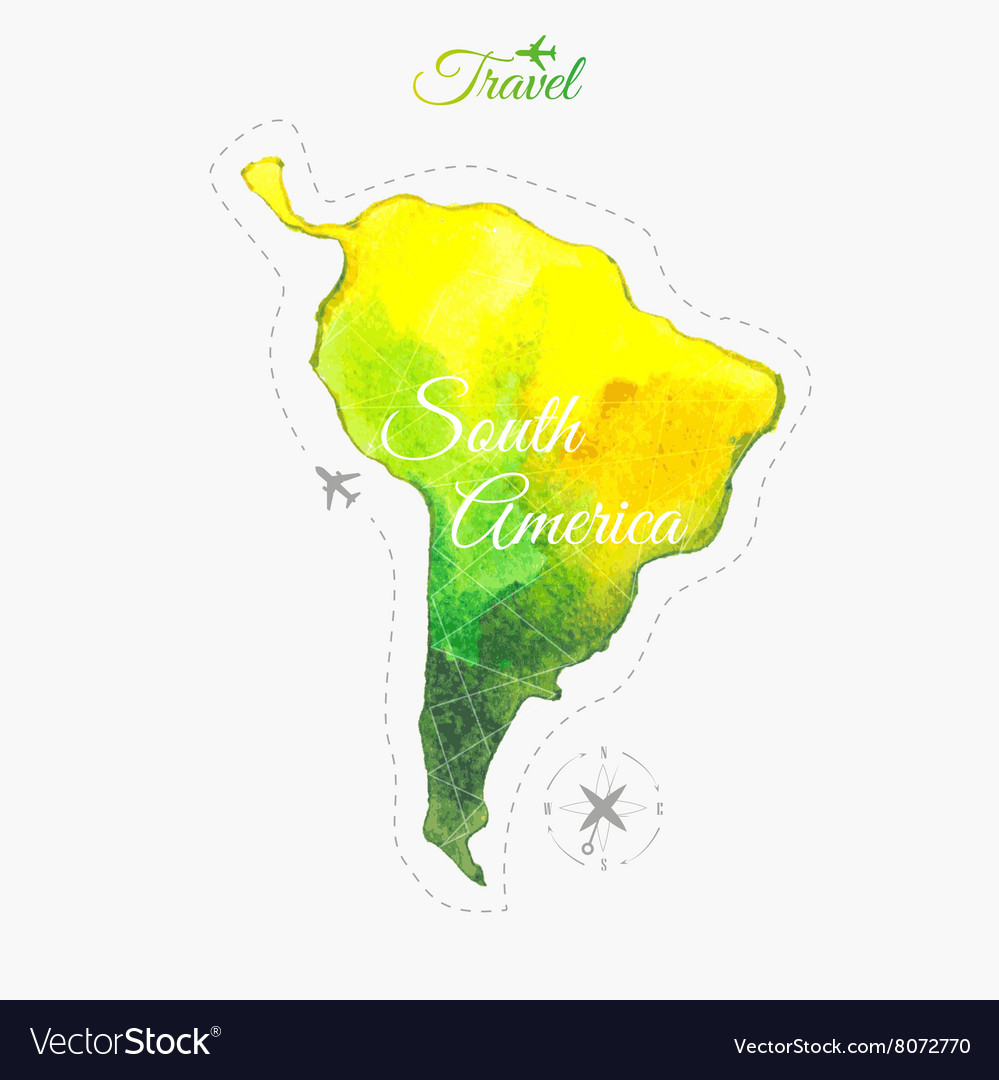 Travel around the world South America Watercolor