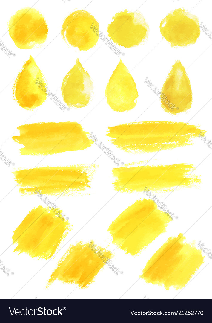 Watercolor yellow blob stains strokes icons