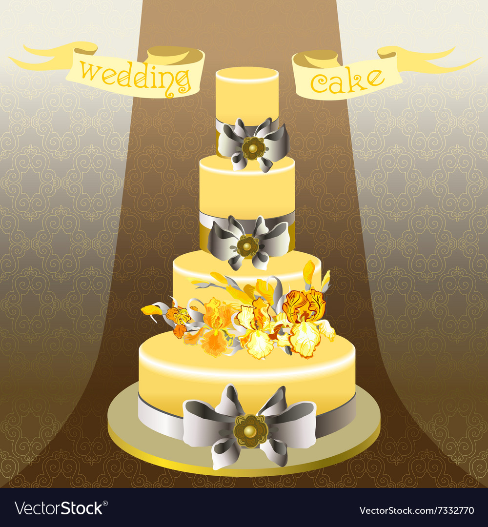 Wedding cake with yellow iris flower design Vector Image