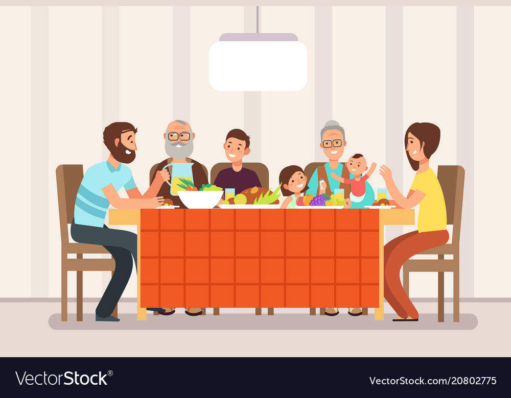 Big happy family eating lunch together in living