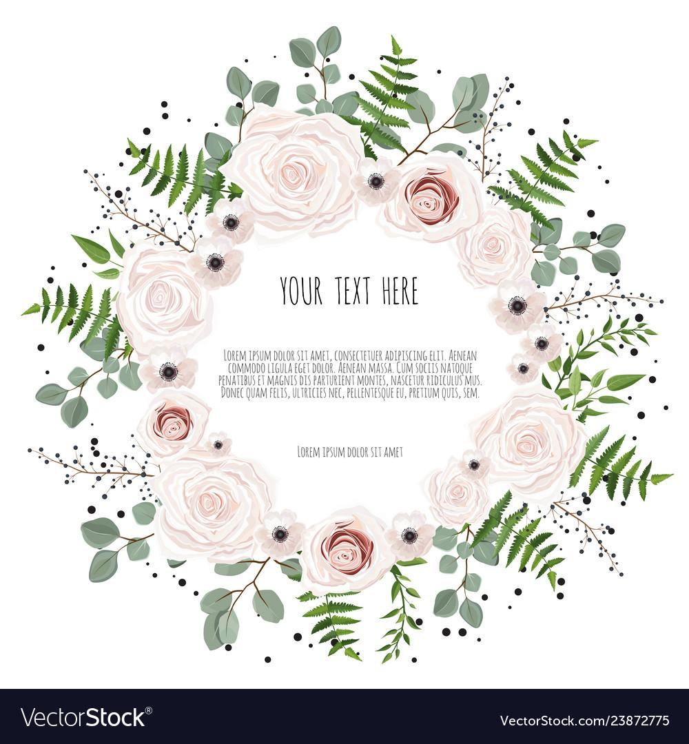 Floral card design with pink creamy white garden