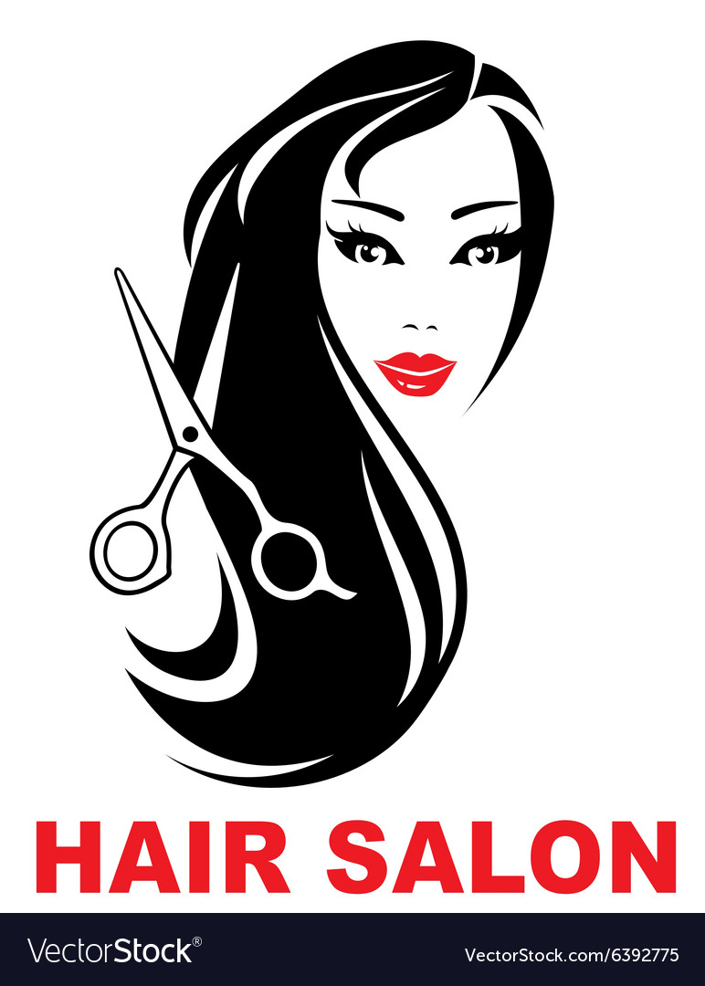 Hair salon icon with woman face vector image
