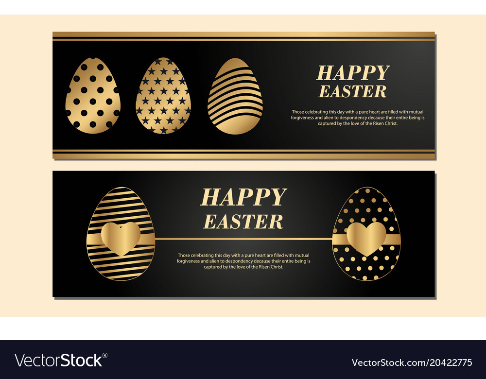 Happy easter banner isolated on light black