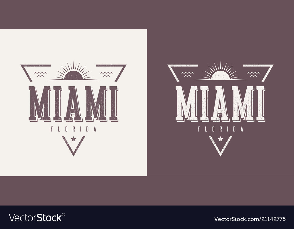 Miami florida textured vintage t-shirt and vector image