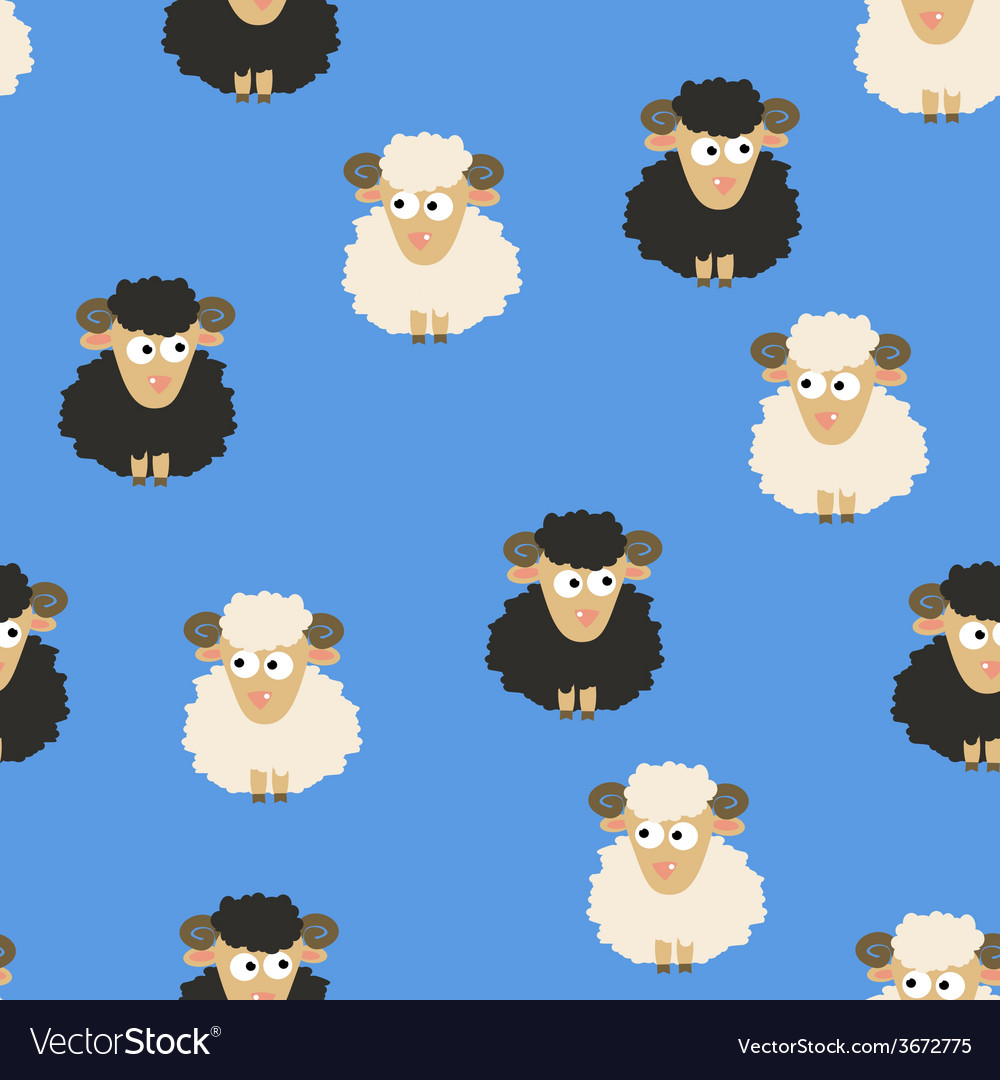 Seamless Pattern with White and Black Sheep