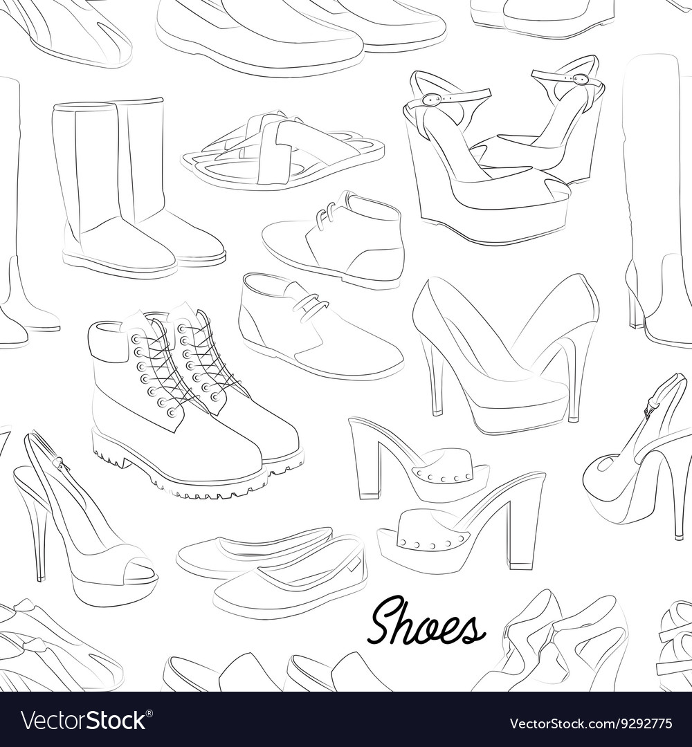 Shoes scetch pattern vector image