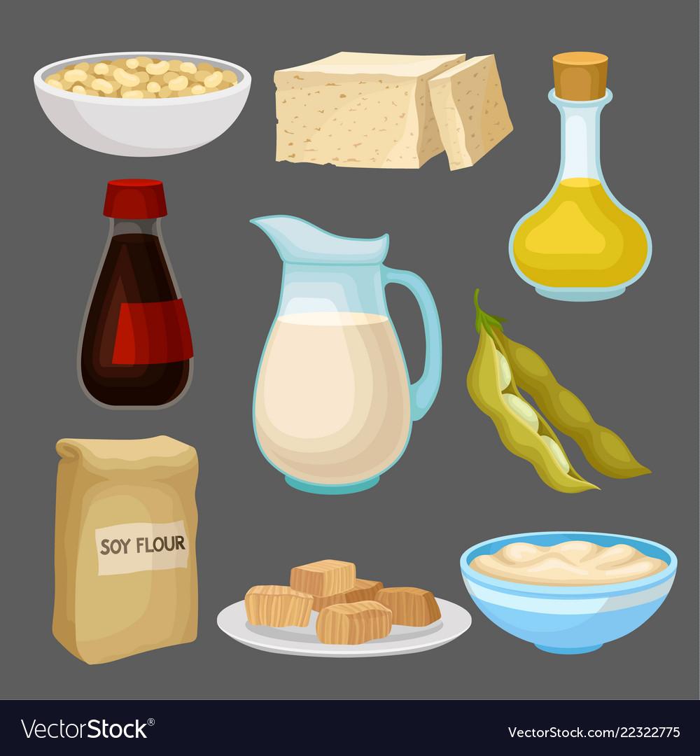Soya food products set milk oil sauce tofu