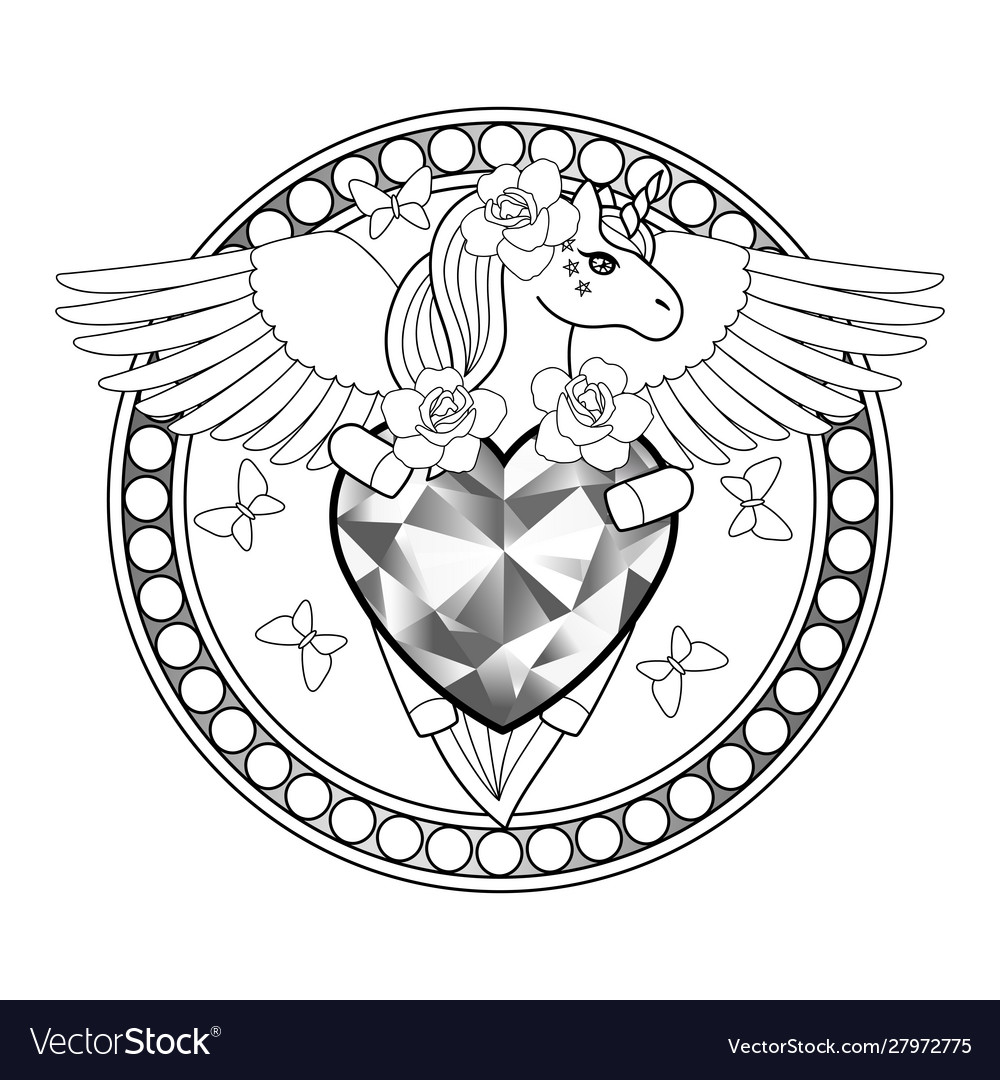 Unicorn with heart and wings outline