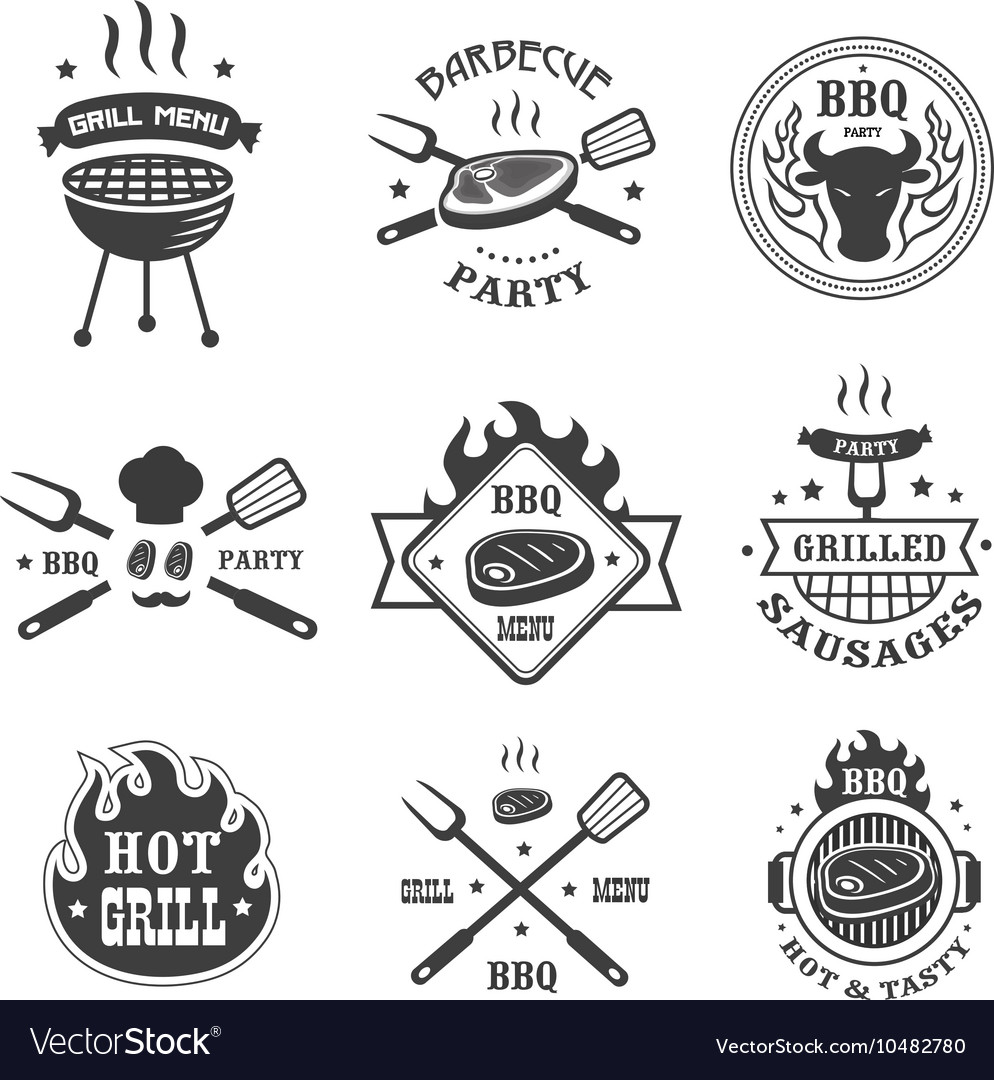 Barbecue and grill labels set BBQ emblems and