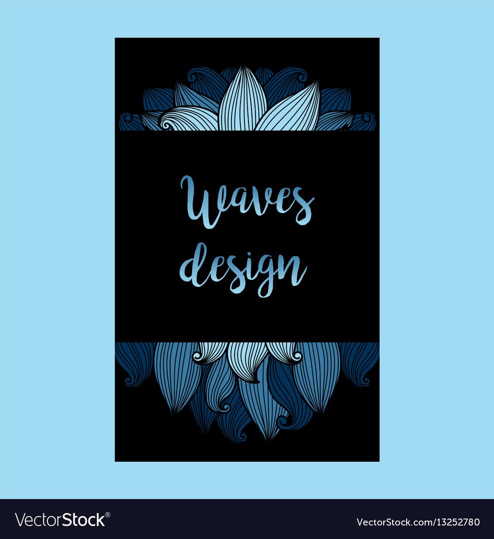Blue waves on black background flyer